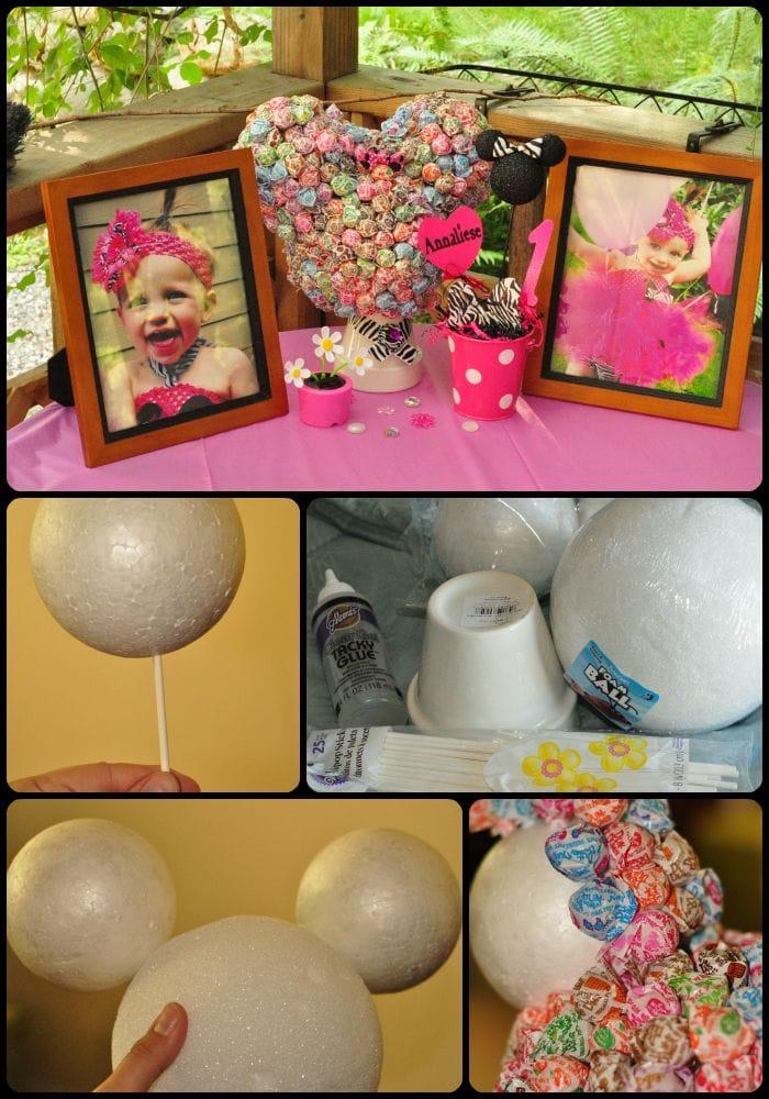Minnie Mouse Dum Dum Lollipop Centerpiece
