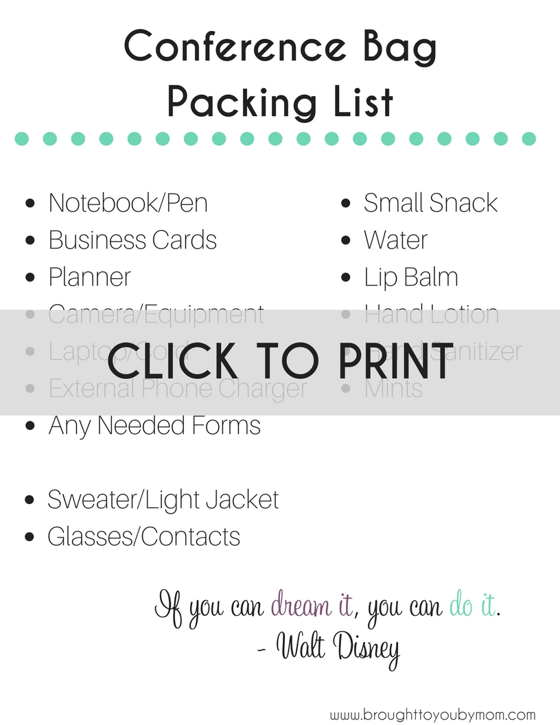Conference Bag Packing List