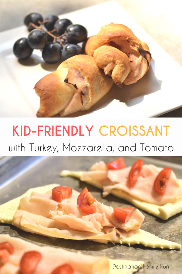 Kid-Friendly Turkey, Mozzarella, and Tomato Croissant, a perfect lunch for little hands (toddler lunches). A Kid-Friendly Croissant. Great for back to school lunch ideas, kid-friendly food ideas, and on-the-go lunches for kids and families.#kids #lunch #food #schoollunch #healthylunch #healthykidslunch #lunchforkids #toddlerlunch #toddlermeal #meal #croissant #easy #quick #simple #healthy