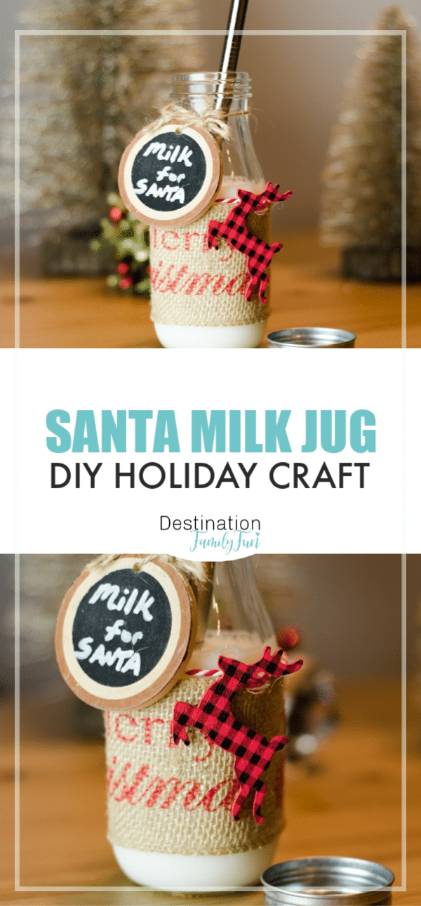DIY Santa Milk Jug for a fun Christmas craft that is sure to bring a smile to Santa himself. Create this fun holiday decor idea to leave out milk and cookies for Santa. A great handmade Christmas gift or decor idea. #christmas #santa #diy