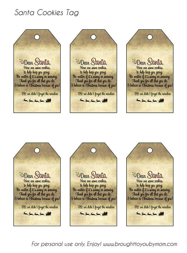 santa tags to print