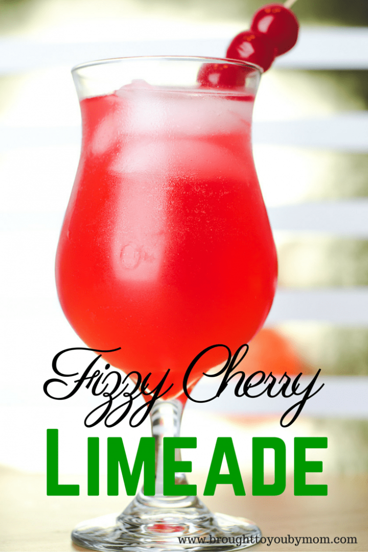 Fizzy Cherry Limeade Recipe for a non-alcoholic fun drink for New Years Eve celebration. Great for kids and the whole family.