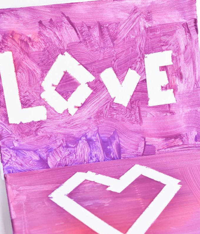 Valentine's Day Kid's Canvas Art Craft. Let kids paint their own valentine's day decor with this simple arts and crafts.