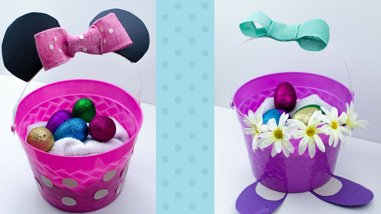 DIY Minnie Mouse Eaaster Basket and DIY Daisy Duck Easter Basket. Cute DIY Disney Easter Baskets for kids.