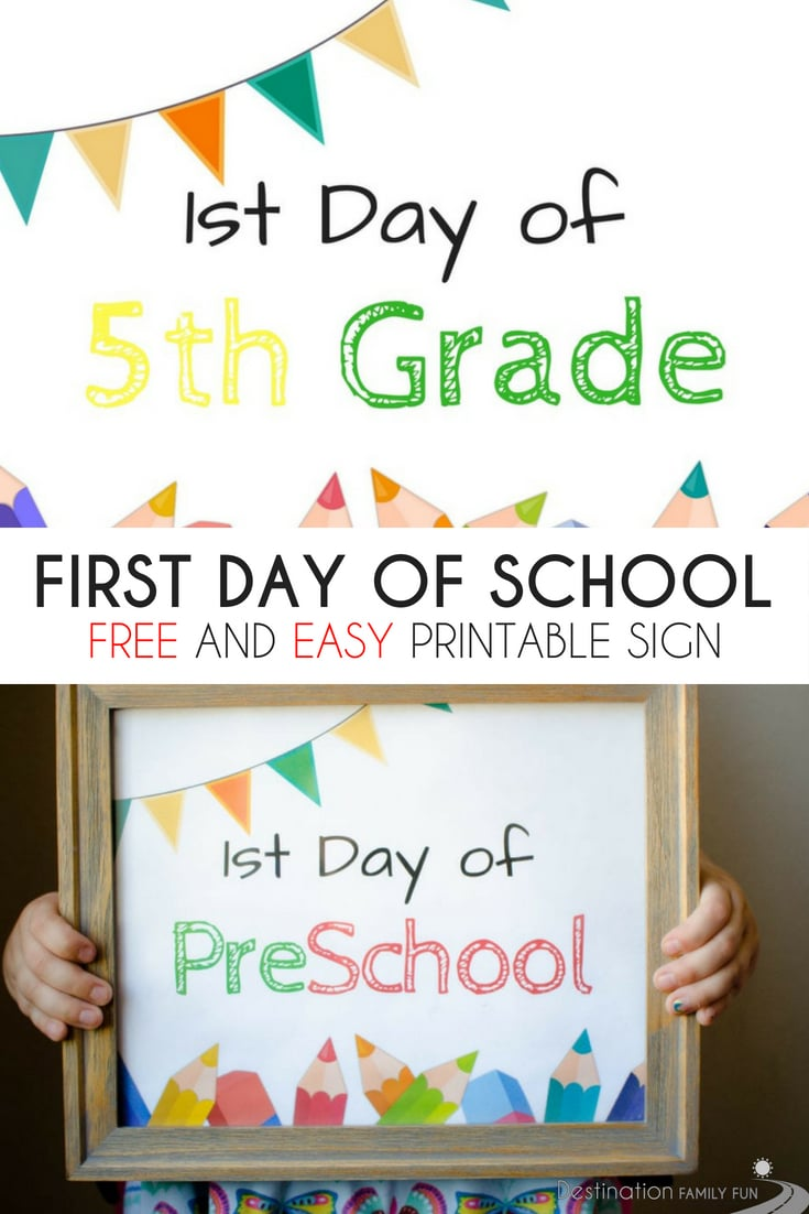 FREE First Day of School Sign Printables - For Grade School makes the first day of school activities a day to remember. Print this for first day photos.#firstdayofschool #schoolprintable #firstdayofschoolsign #firstdayofschoolphoto #photoprop #schoolphoto #schoolsign #schoolevent #school #preschool #gradeschool