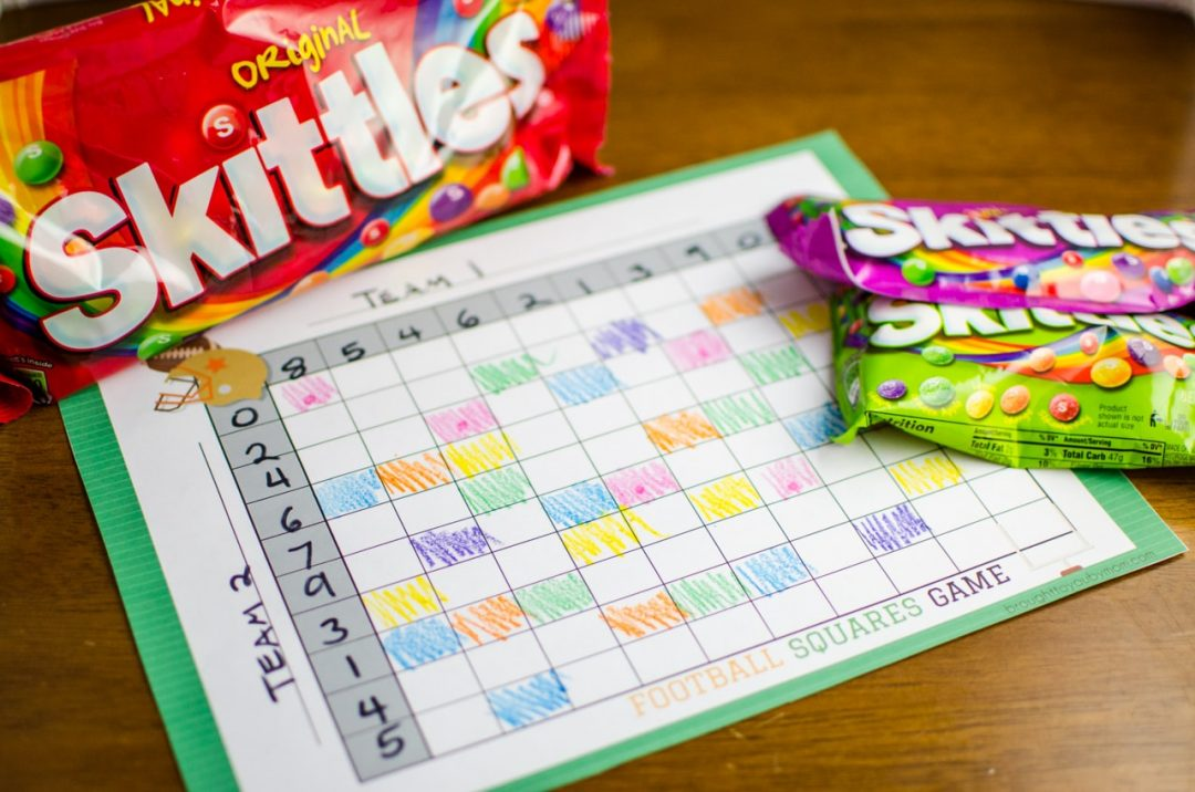 football squares game with skittles