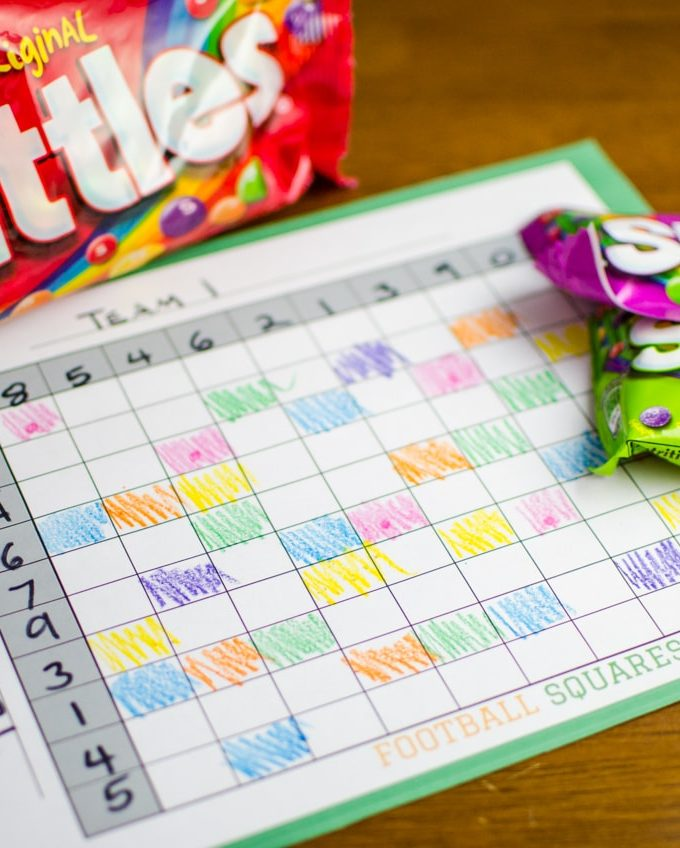 Want a friendly game idea for your next homegate party? Check out this Football Squares Game with Skittles! Call an Eatible. (sponsored)