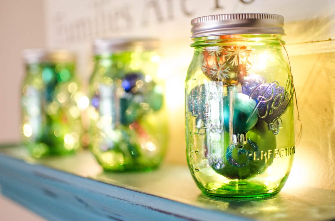 Mason Jars with Ornaments and Lights