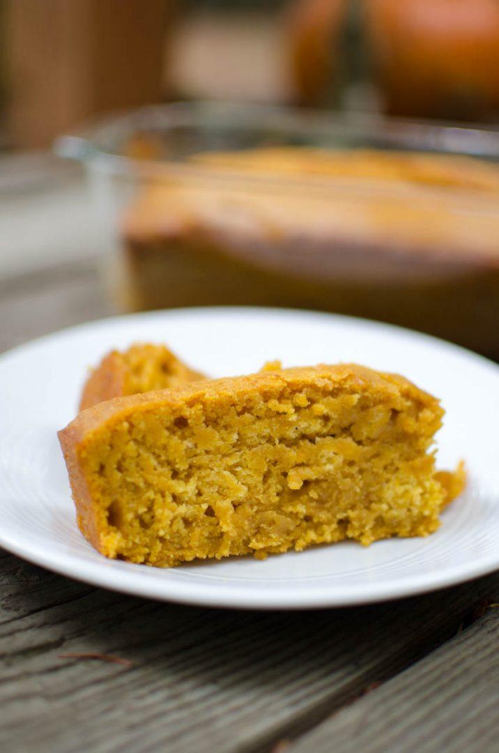 slice of pumpkin bread on white plate
