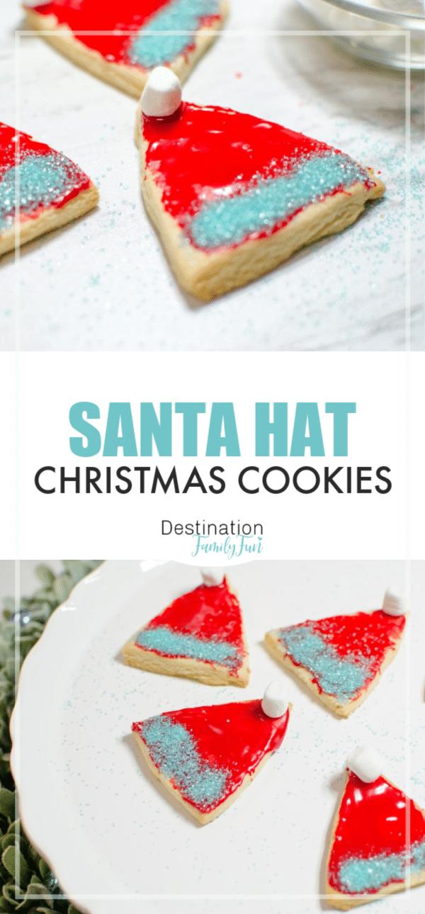 Santa Hat Cookies are simple and adorable to make for Christmas. Santa Hat Christmas Cookies are great for a holiday cookie exchange and more. This simple recipe will teach you how to make Santa Hat Cookies for Christmas.#santa #cookies #christmas