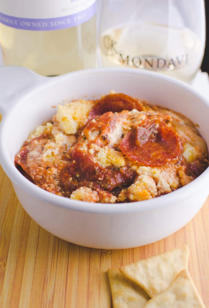"""Get your """"Game Face On"""" with this Amazing Pizza Dip appetizer recipe. Perfect for game day parties. Simple and flavorful pizza dip."""