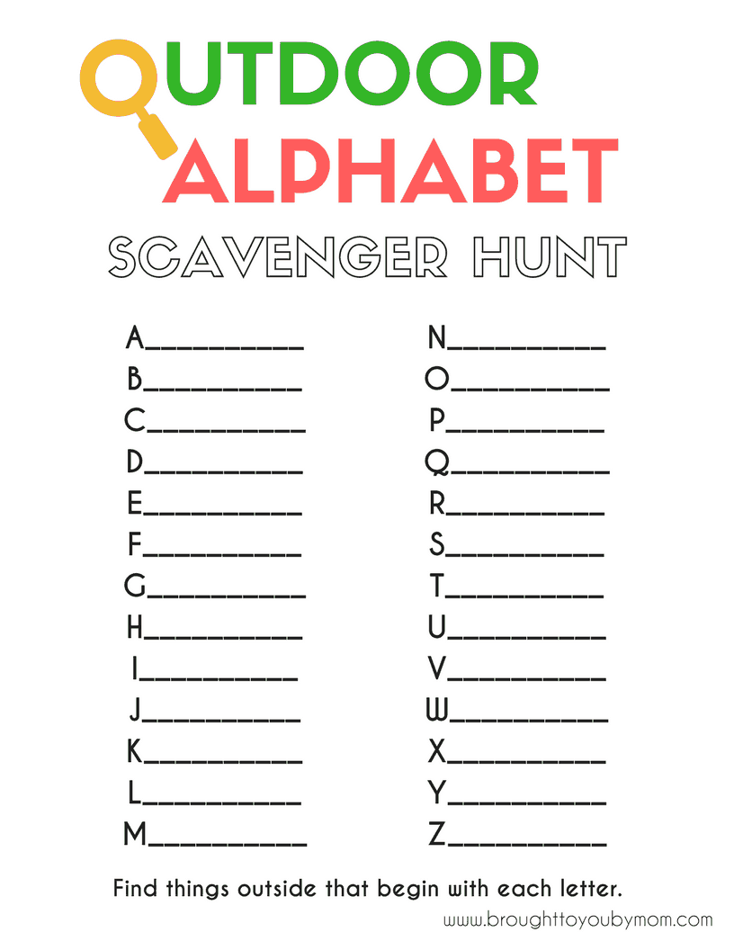 photo about Printable Scavenger Hunt named Outside Alphabet Scavenger Hunt Introduced toward Oneself by means of Mother