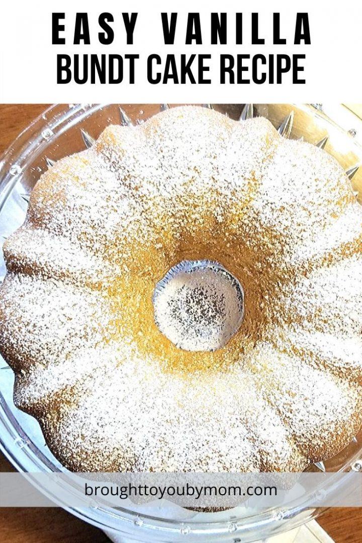 vanilla bundt cake with powdered sugar topping