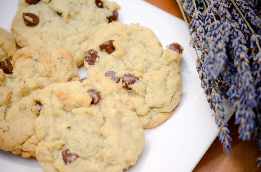 cookies on white plate with lavender
