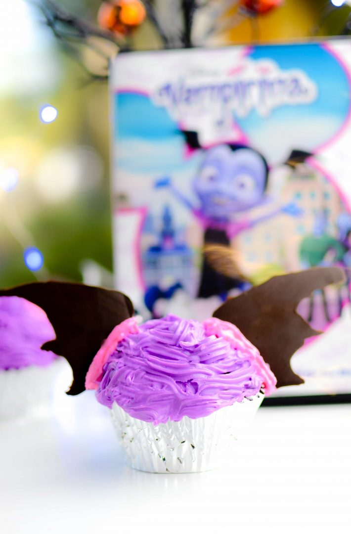 Vampirina Cupcakes to celebrate bringing Vampirina home on Disney DVD. Fun Disney themed cupcakes for parties, movie nights and more!