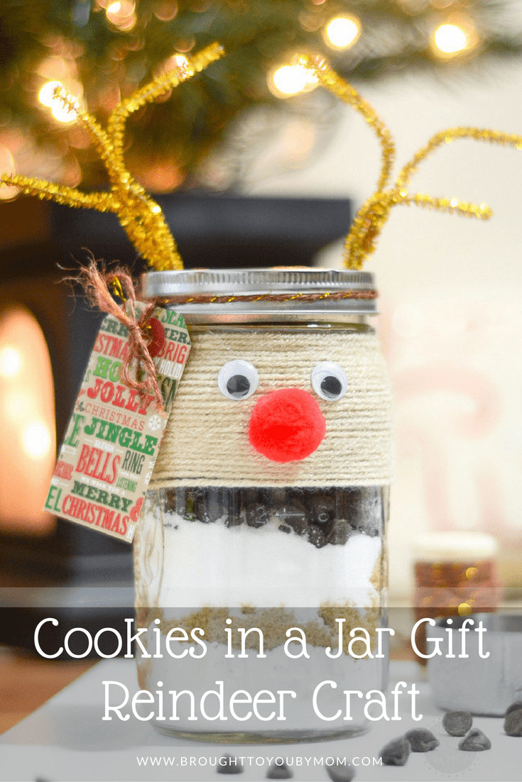 A Cookies in a Jar Gift is a fan favorite. Add some more holiday cheer by creating a Cookies in a Jar Gift with this reindeer craft. Cute and fun!