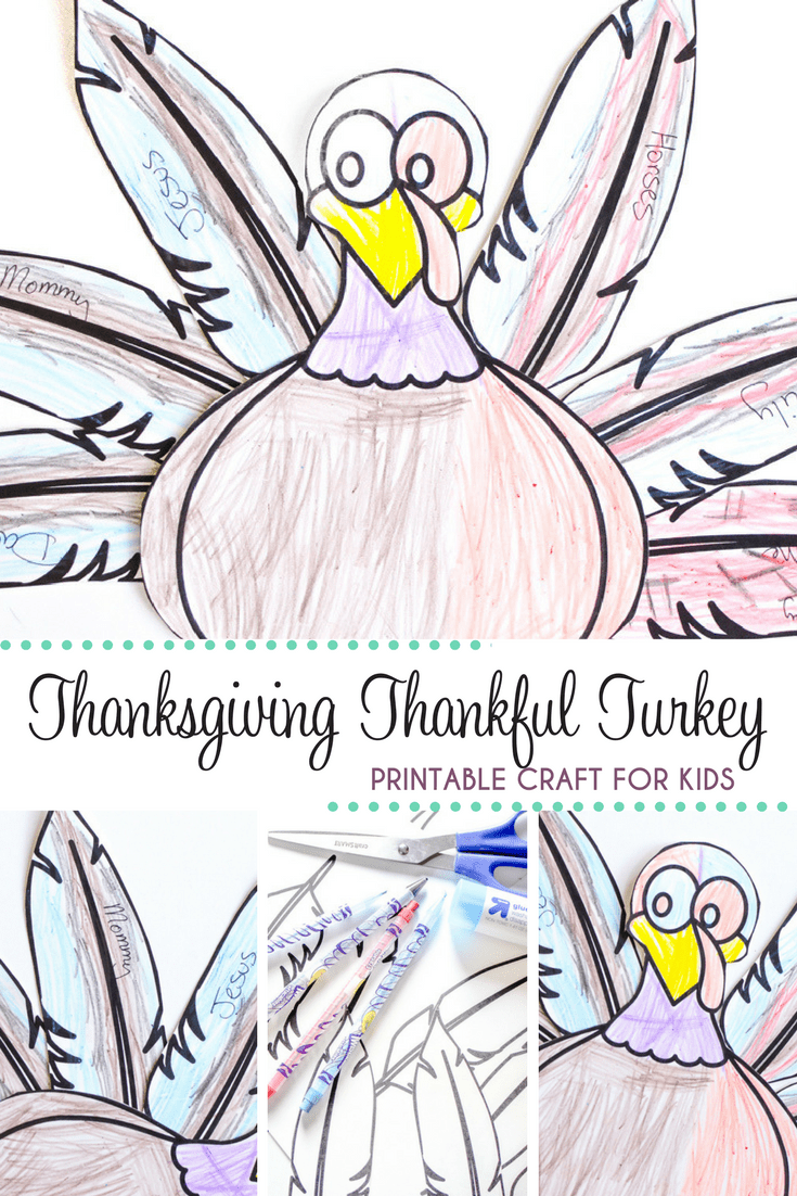 photograph about Printable Thanksgiving Craft named Thanksgiving Grateful Turkey Printable