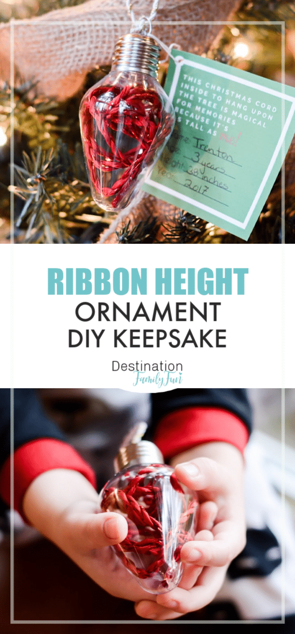 Personalized Ornaments for Kids to make are the best homemade Christmas ideas. A new take on the ribbon height ornament and the perfect keepsake.#christmas #craft #kids #diyornament#