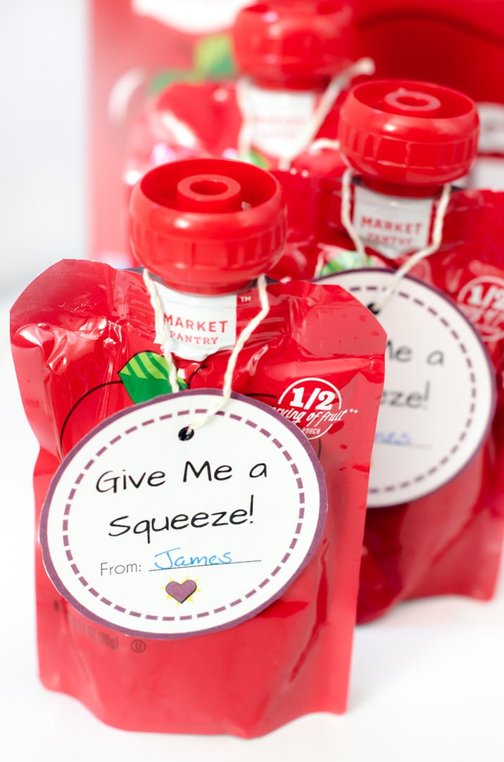 Printable Valentine's Day Cards that are perfect to attach as Squeezable Pouches Valentines.