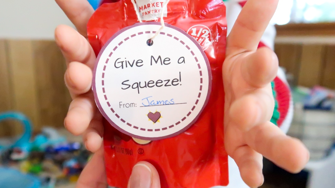 These Printable Valentine's Day Cards for toddlers are great to add to squeezable pouches. Great Printable Valentine's Day Cards for preschoolers.