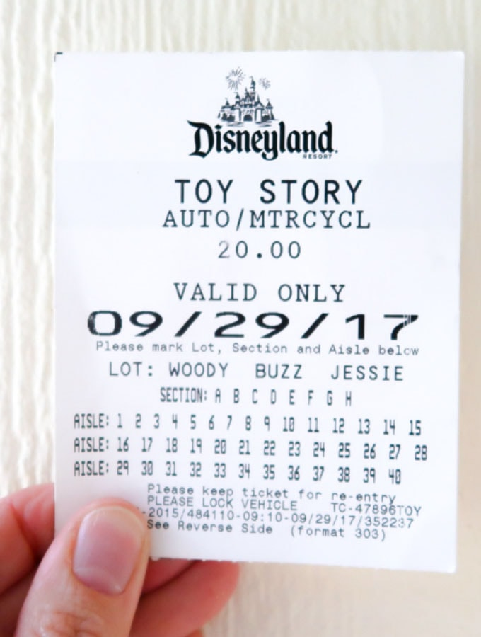 Disneyland Parking Ticket