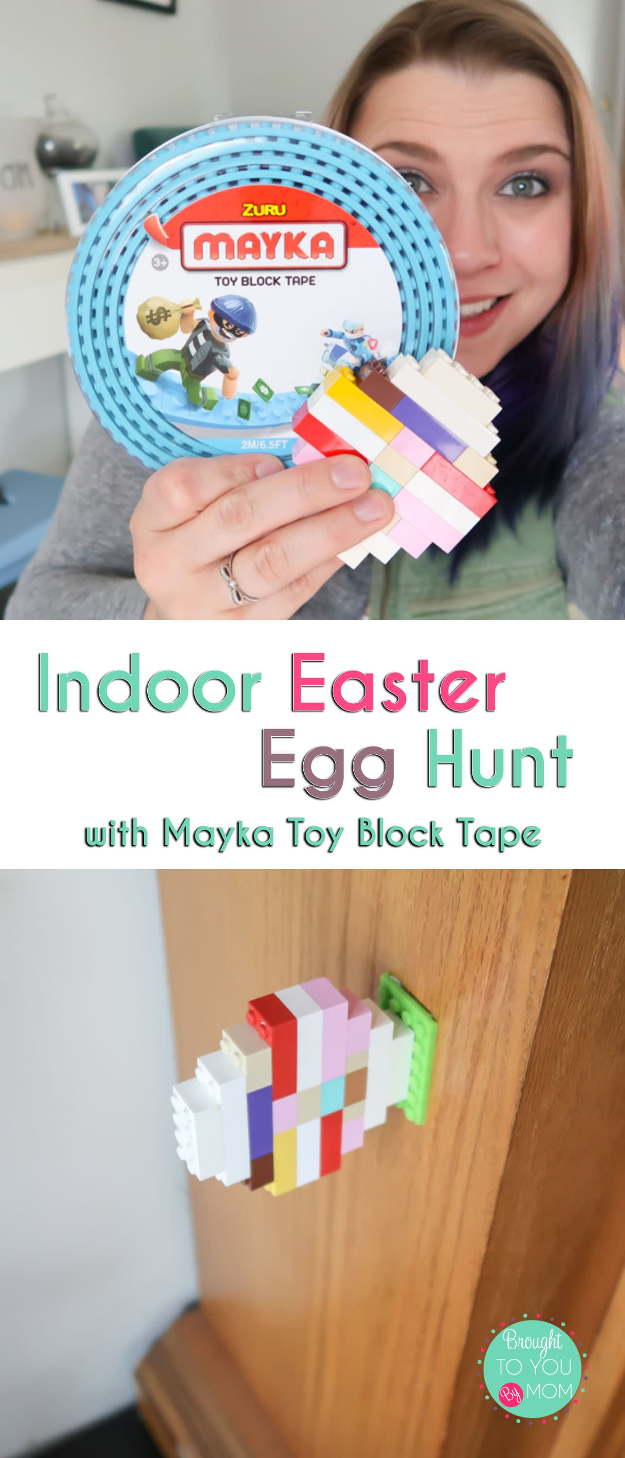 Have an indoor Easter egg hunt using toy blocks and Mayka Toy Block Tape. Need an idea about how to do easter egg hunt indoors? This is a simple and fun way to create Easter eggs with toy bricks and have fun finding them almost anywhere inside. #ad #MaykaWorld #MaykaTape #Easter #Kids #EasterEggHunt