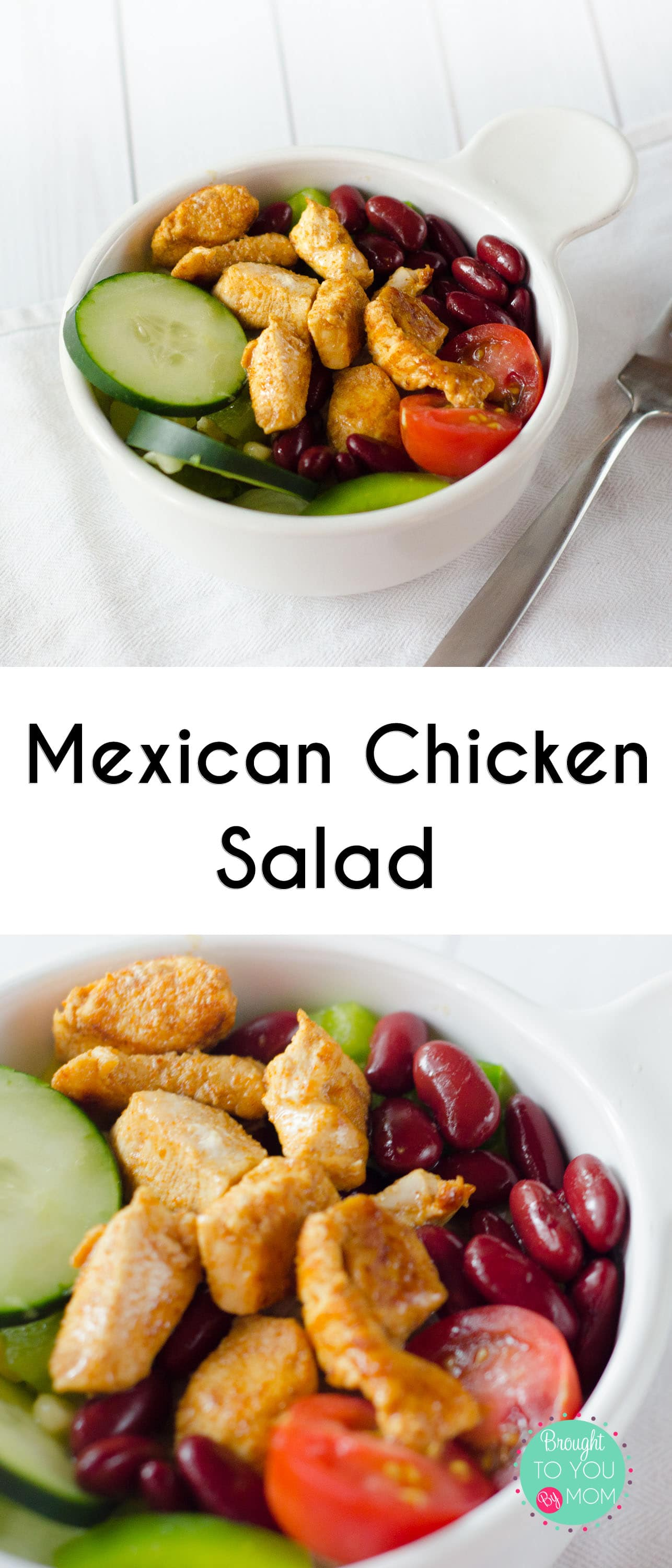 (ad) Mexican Chicken Salad for a quick and healthier meal choice. Make this Mexican Chicken Salad recipe in minutes. It can also make a great Chicken Taco Salad recipe by adding a few tortilla chips. Mexican Chicken Salad or Chicken Taco Salad for a busy day meal. #SWBeans #IC #salad #chicken #quickrecipe #fastrecipe #simplerecipe