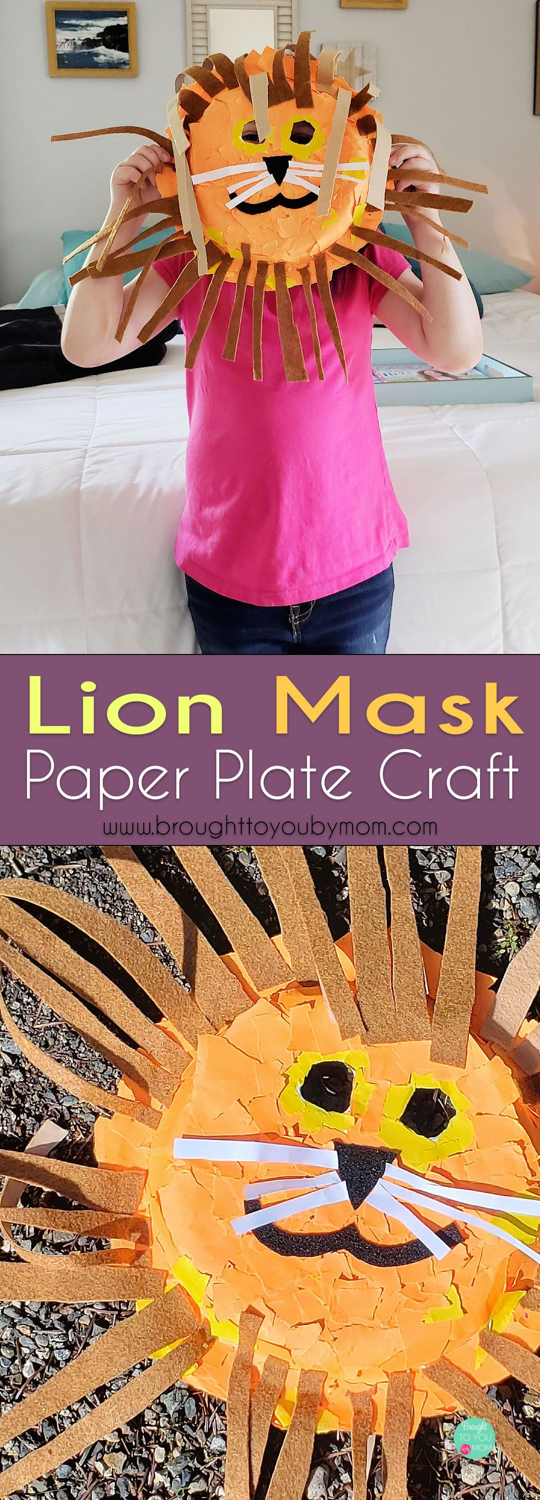 Need a fun kids craft? Check out this lion mask paper plate. This tutorial on how to make a paper plate lion mask is simple and fun for a rainy day kids activity. #kidscrafts #rainyday #kidsactivities #kidsideas #lionmask