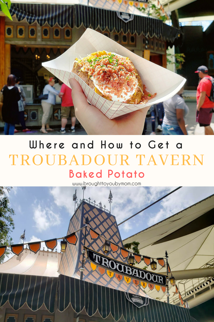 Troubadour Tavern Baked Potato. Where is the Troubadour Tavern at Disneyland? How to get the Troubadour Tavern Baked Potato? Get the answers here! #Disneyland #Travel