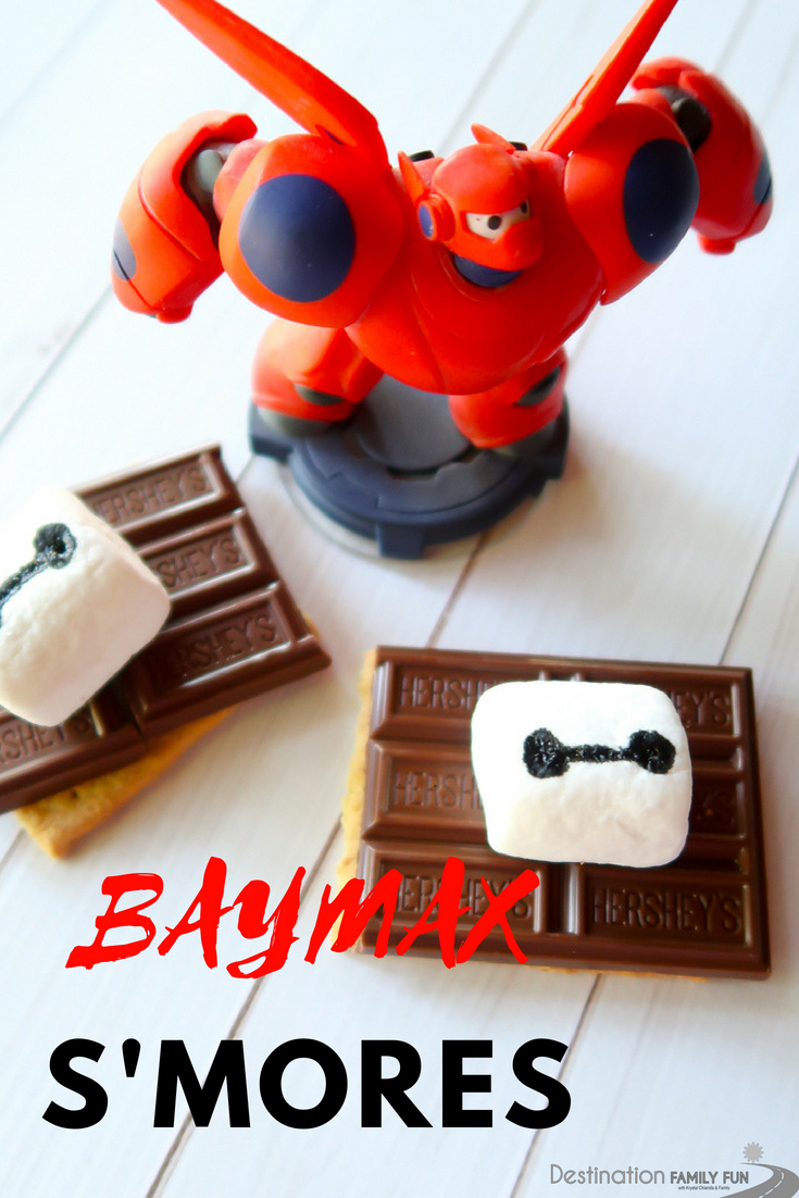 Baymax S'mores are a great addition to the Big Hero 6 the Series: Back in Action. Have fun making these adorable Baymax S'mores with family!#bighero6 #baymax #smores #disneythemedfood #food #recipe #camping #outdoorcooking #dessert #sweettreat #smoresrecipe #disneyfood #disney #disneydvd #bighero6series #bighero6party