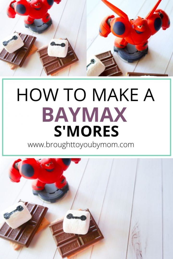 baymax smores on white wood background