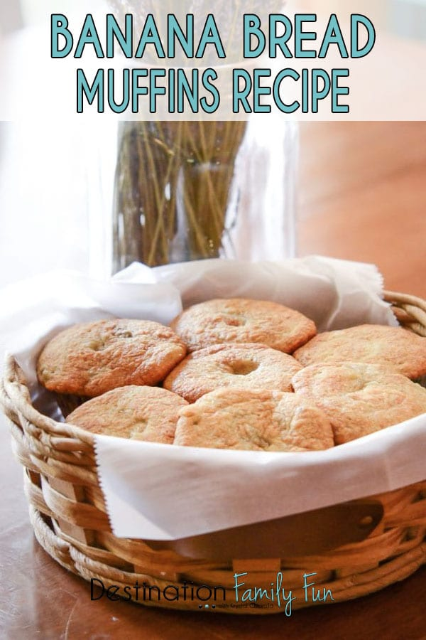 Banana Bread Muffins recipe. An easy banana bread muffins recipe that is great for putting on the table for the kids or when company stops by. #