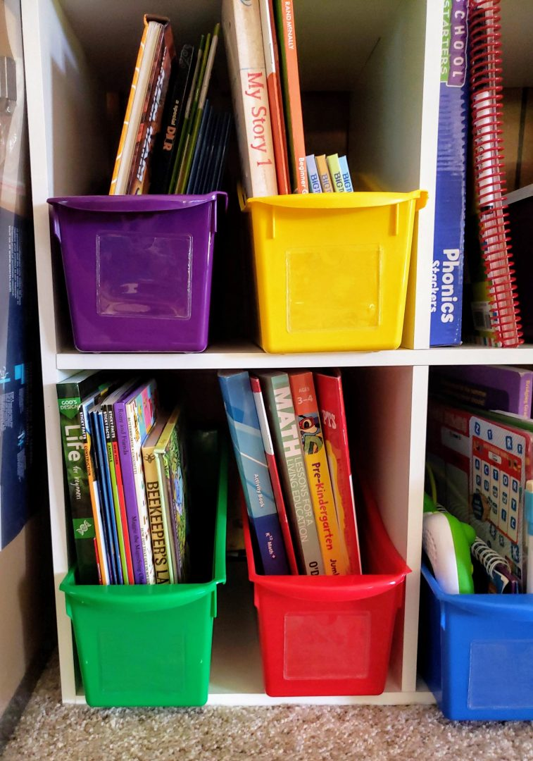 Homework Station Book Bins are perfect for organizing a study area at home.