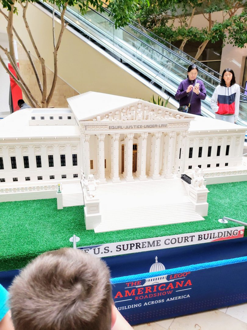 LEGO Americana Roadshow is a perfect summer activity for kids at Bellevue Square. Large scale models, hands-on LEGO activities and more. #lego #summerlearning #supremecourt #history #legomodels #legoscale #legoexhibit #legoevent #familyevent #summerideas #seattle #washington