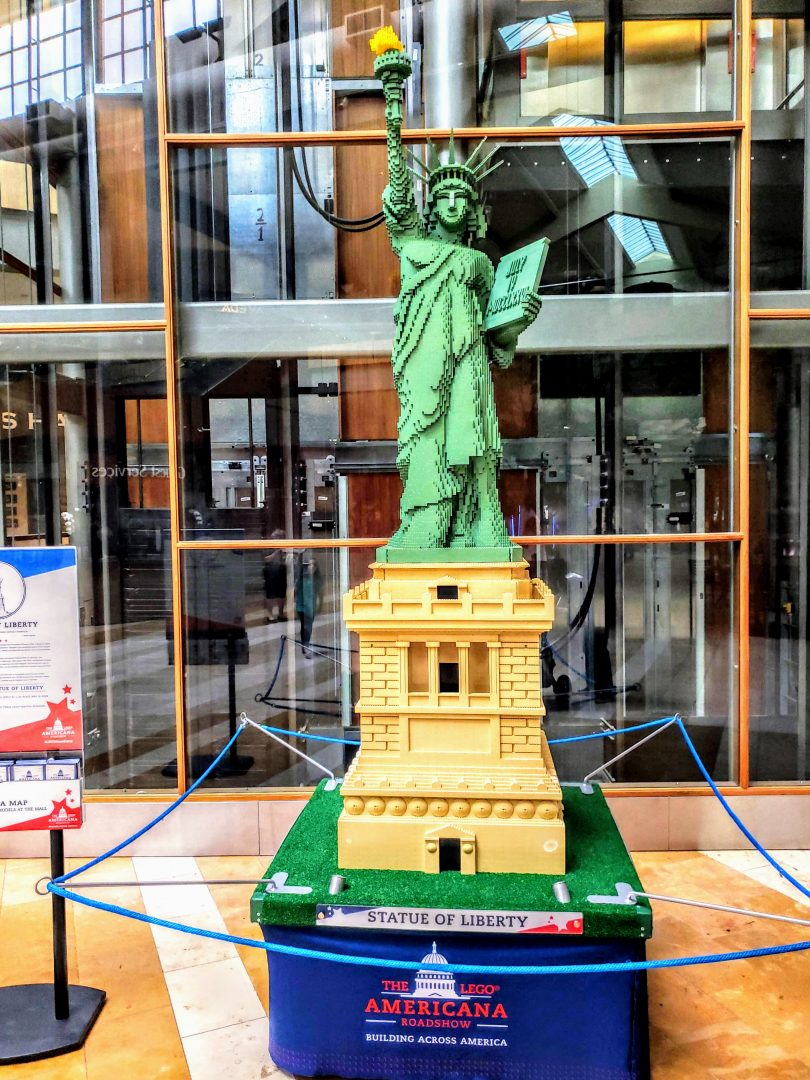 The LEGO Americana Roadshow is a fun last days of summer activity for the entire family. Enjoy large scale LEGO models and LEGO hands-on experiences at Bellevue Square. #lego #legoamericanaroadshow #summerideas #legoexhibit #bellevue #seattle #familytravel #travel #ideasforkids #summerkids