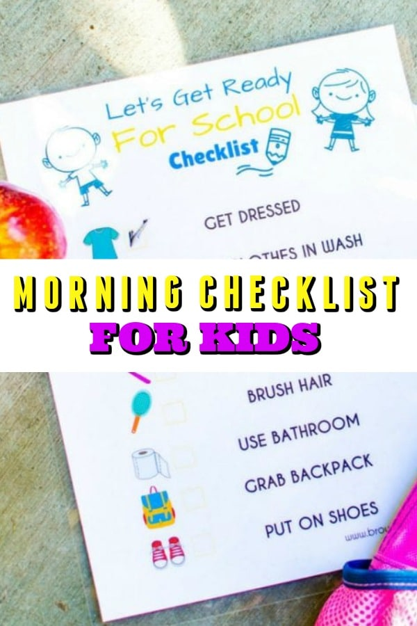 Morning Checklist for Kids Printable