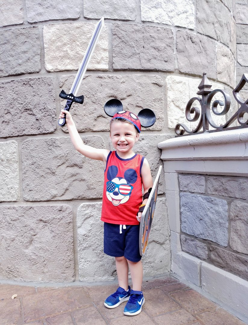 Little boy in knight costume from Bibbidi Bobbidi Boutique