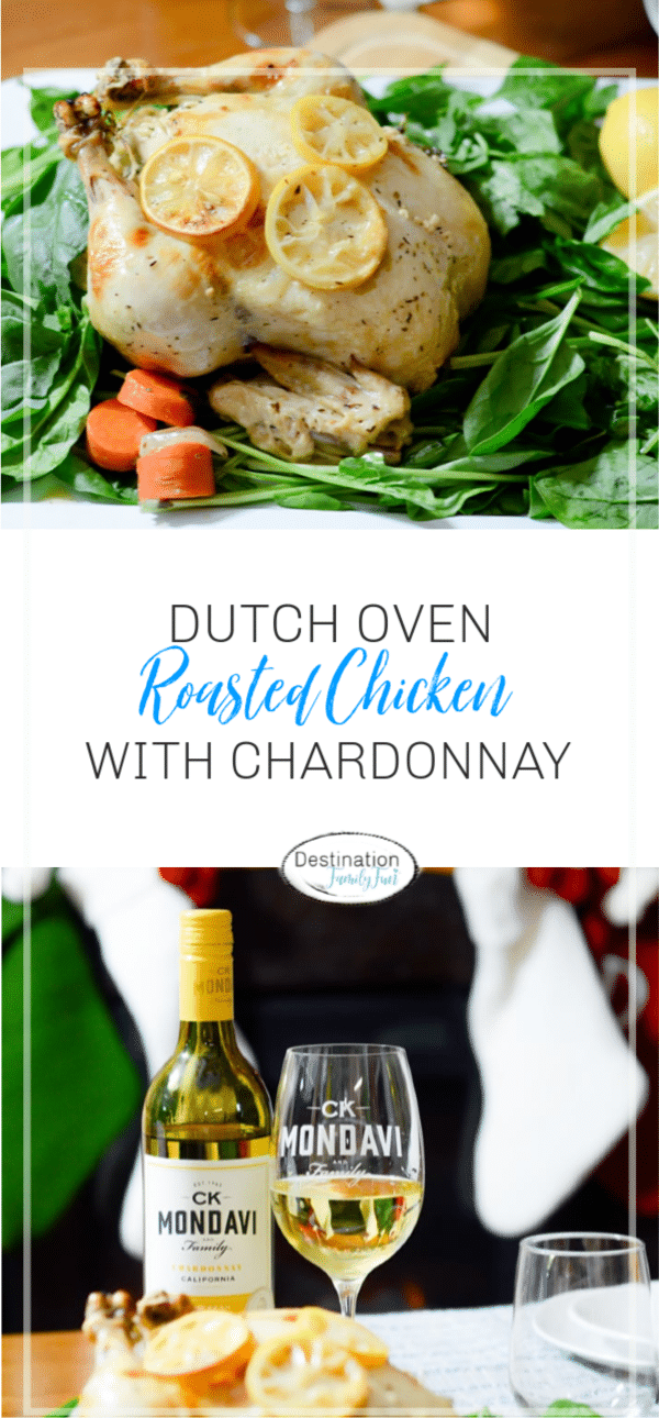 This Dutch Oven Roasted Chicken with Chardonnay is a flavorful blend of herbs and citrus. Perfect for Christmas dinner or any holiday gathering. #christmas #recipe #dutchoven #chicken #roasted #chardonnay #wine #holiday #dinner