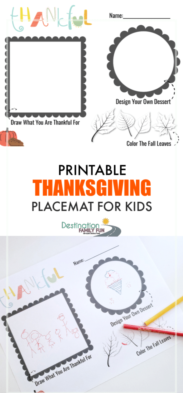 Printable Thanksgiving Placemat for kids. Help keep kids entertained before dinner with these fall-themed activities. A free Thanksgiving printable for kids.#printable #thanksgiving #kids #placemat #home #holiday #eat #funforkids #printablesforkids