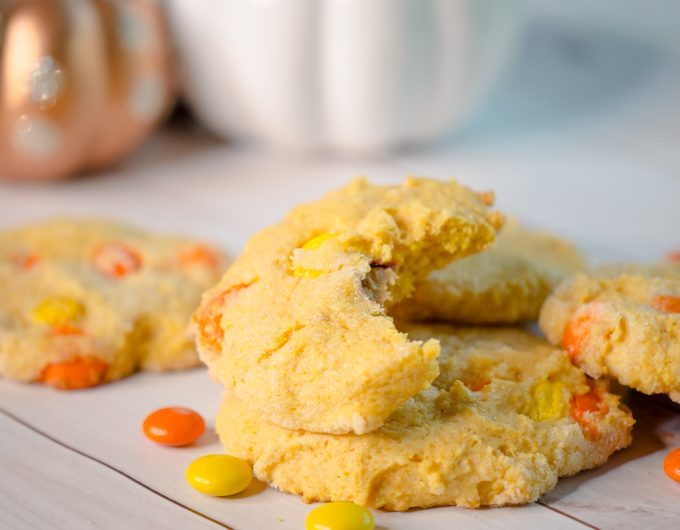 """Pumpkin Sugar Cookies recipe for soft pumpkin sugar cookies with a treat inside. A """"trick-or-treat"""" favorite this Halloween."""
