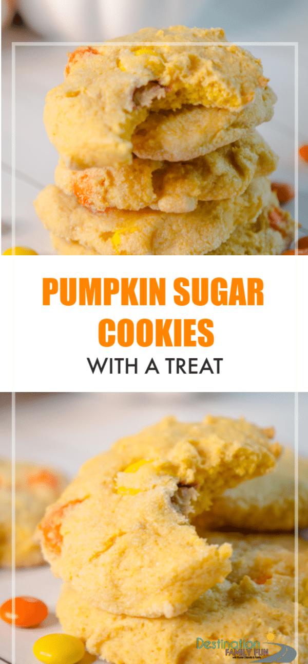 Pumpkin Sugar Cookies recipe for soft pumpkin sugar cookies with a treat inside. A