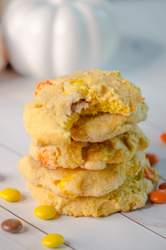 "Pumpkin Sugar Cookies recipe for soft pumpkin sugar cookies with a treat inside. A ""trick-or-treat"" favorite this Halloween."