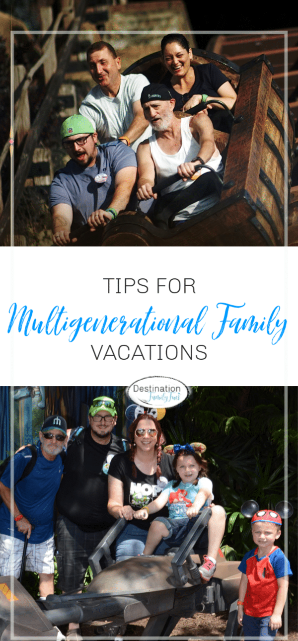 Multigenerational family vacation tips for less stressful planning and trip. A multigenerational family vacation can be memorable.#multigenerational #family #vacations #travel #tips #familytravel #planning #largefamilyvacations