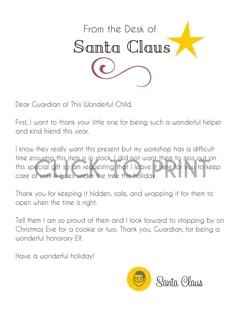 Child Found Santa's Gift Letter Free Printable Print Final