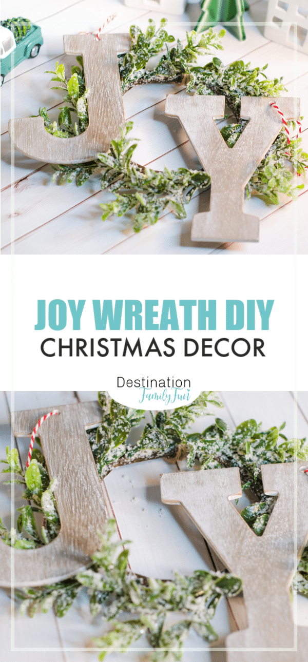 A joy wreath DIY tutorial that is super simple and just around $5 to make. A great addition to any shelf this holiday season. #Christmas #Wreath #DIY