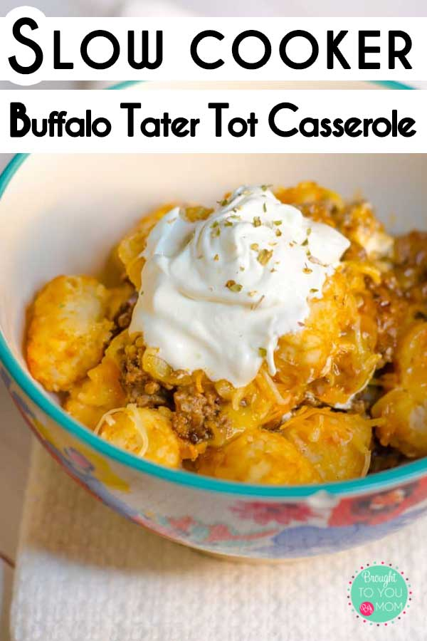Buffalo Tater Tot Casserole in the slow cooker is an easy family meal to make any time of year. And, the family is sure to love it.   #casserole #slowcooker