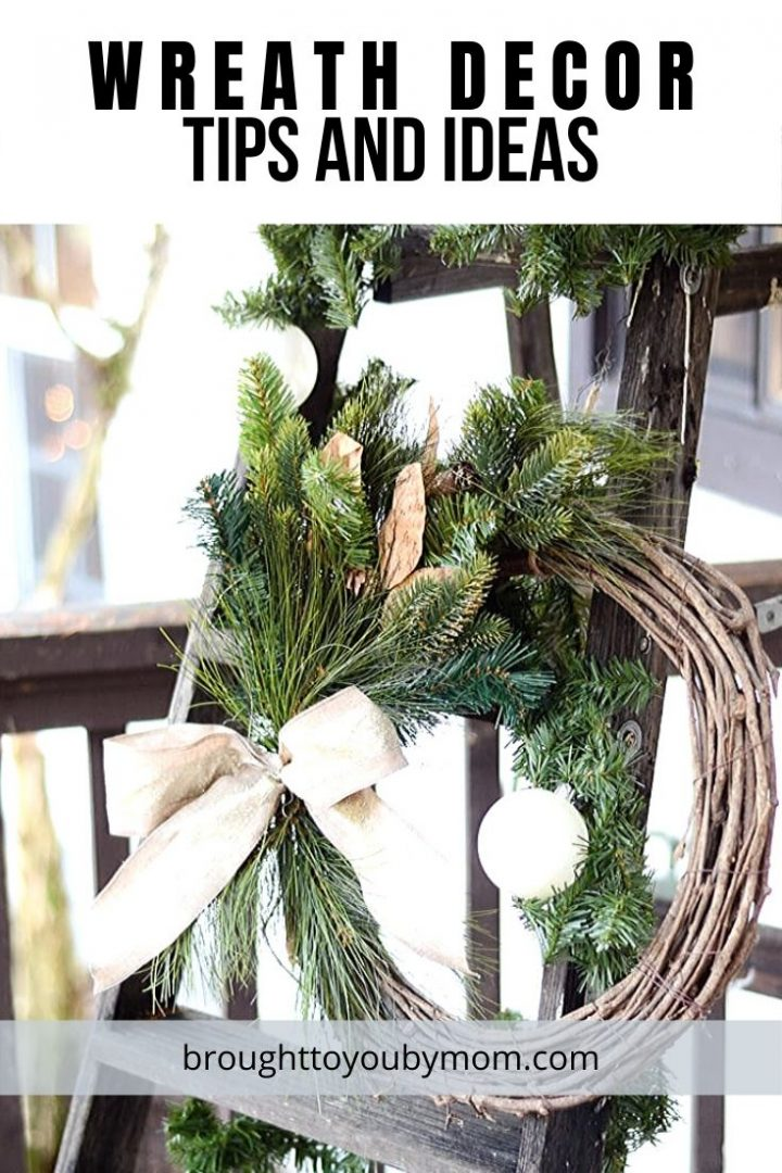 wreath on a wooden ladder