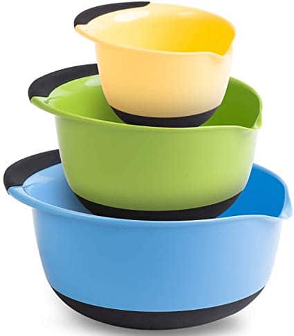 Premium Plastic Mixing Bowls (Set of 3) Sizes: 1.5, 3 & 5 QT - With Non Slip Bottom & Pouring Spout. For Healthy Cooking & Baking, Nesting and Stackable Free Bonus - measuring cup