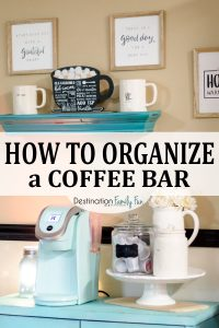 Home Coffee Bar Organization Tips for a Farmhouse Style. #coffeebar #home #organization