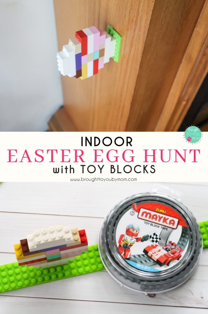 Have an indoor Easter Egg hunt with toy block instructions.